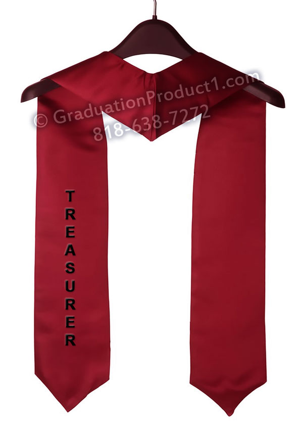Treasurer Maroon Graduation Stole