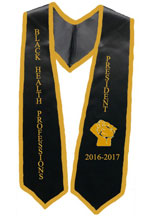 University of Texas president black stole with gold trim