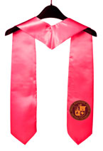 Hot Pink Two Side Embroidered Graduation Stole with Logo