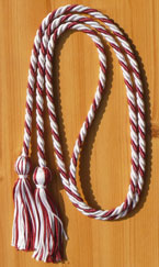 White & Maroon Intertwined Graduation Honor Cord