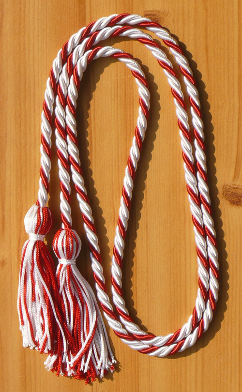 White And Red Intertwined Honor Cord