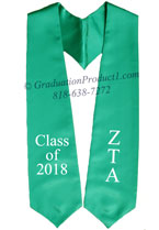 Zeta Tau Alpha Teal Greek Graduation Stole