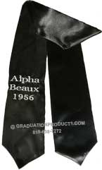 Black One Side Embroidered Graduation Stole