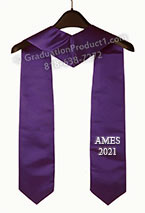 AMES 2021 Purple Embroidered Graduation Stole