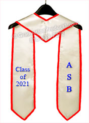 ASB 2021 Graduation Stoles & Sashes with Red Trim