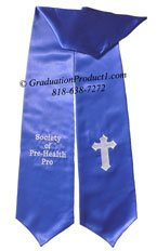 Royal Blue Two Side Embroidered Graduation Stole with two side Logo