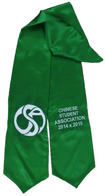 Kelly Green Two Side Embroidered Graduation Stole w/ 2 side Logo