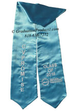 Turquoise Blue Two Side Embroidered Graduation Stole with two side Logo