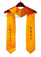 Embroidered Class Of 2021 Gold Graduation Stole