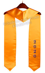 Embroidered 2021 Gold Graduation Stole