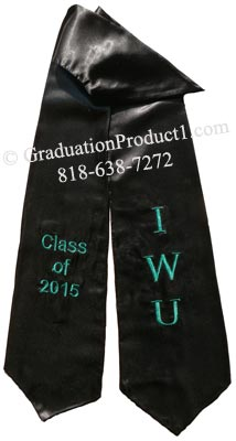Black Two Side Embroidered Graduation Stole