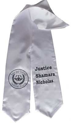 White Two Side Embroidered Graduation Stole w/ 2 side Logo