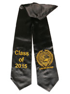 Black Two Side Embroidered Graduation Stole w/ 2 side Logo