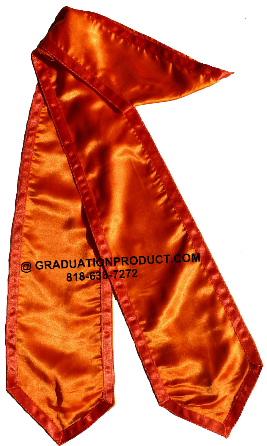 Orange Graduation Stole With Red Trim