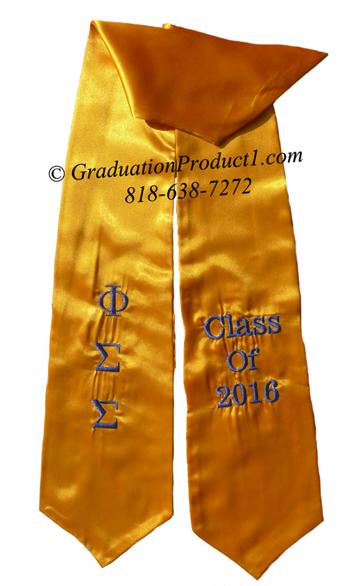 Phi Sigma Sigma Gold Greek Graduation Stole