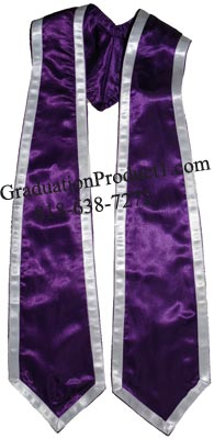 Purple Stole With Trims Graduation Stole