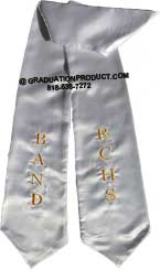 Silver Two Side Embroidered Graduation Stole
