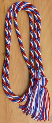 Red White and Royal Blue Intertwined Graduation Honor Cord