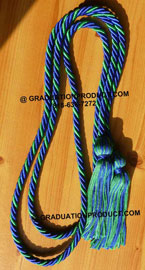 Royal Blue & kelly Green Intertwined Graduation Honor Cord