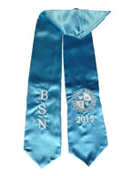 Turquoise Blue Two Side Embroidered Graduation Stole w/ 2 side Logo