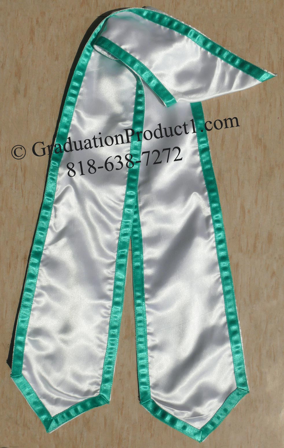 White Graduation Stole With Teal Trim