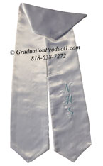 White One Side Embroidered Graduation Stole