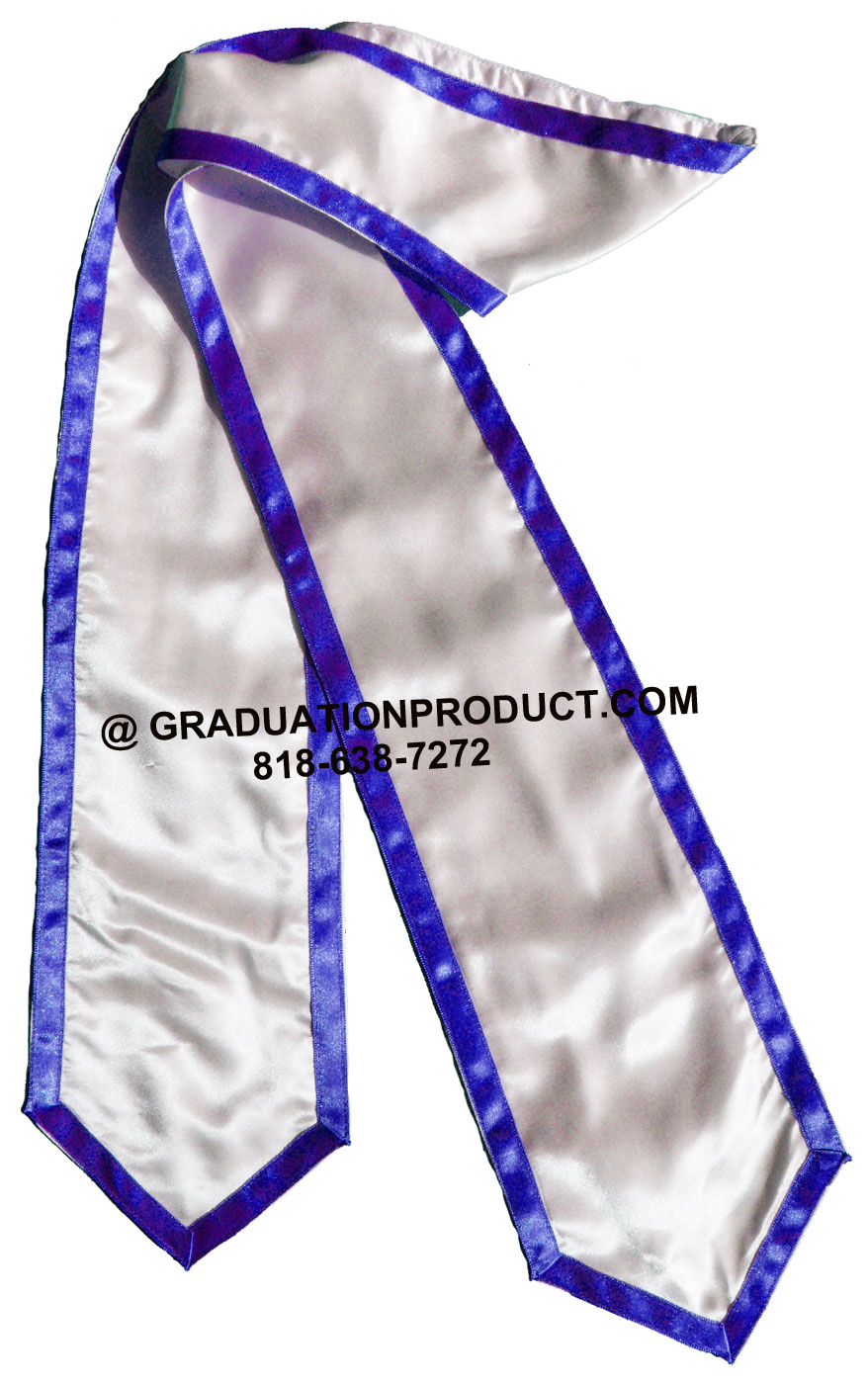 White Stole With Royalblue Trim