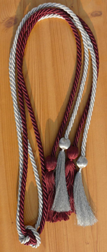 Metallic Silver and Wine Double Graduation Cord