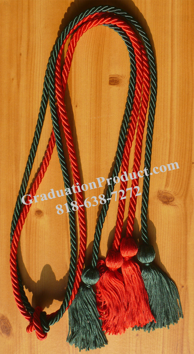 Red And Forest Green Double Honor Cord