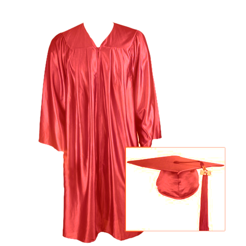 Red Graduation Cap, Gown and Tassel