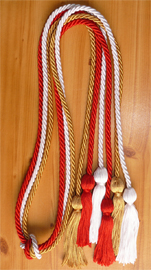 Red Old Gold and White Triple Graduation Honor Cords