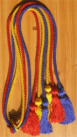 Red Royal Blue and Gold Triple Graduation Honor Cords