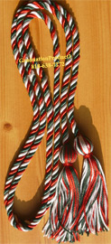 Red , White and Hunter Green Intertwined Graduation Honor Cord