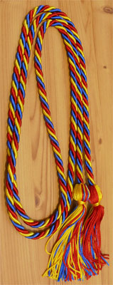 Red, Royal Blue and Gold Intertwined Graduation Honor Cord