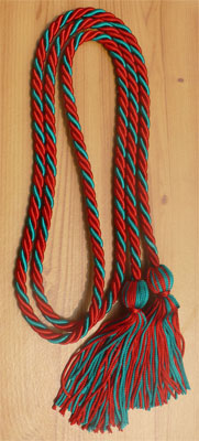 Red & Teal  Intertwined Graduation Honor Cord