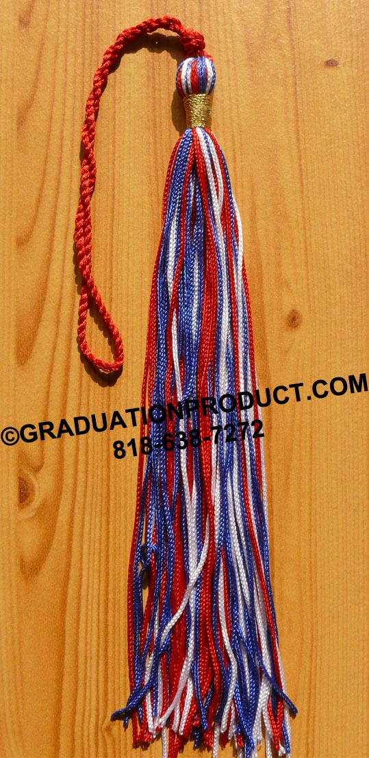 Three Color Graduation Tassel With Metallic Wrap
