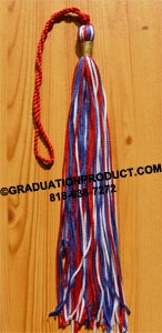 Red White Blue Graduation Tassel with Metallic Wrap