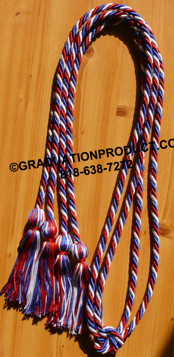 Red White Royalblue Tied Honor Cords