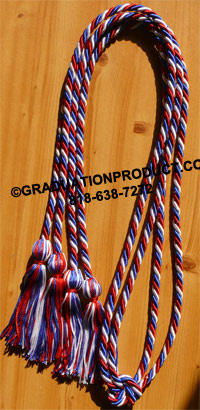 Red White and Royal Blue Intertwined Double Tied  Graduation Honor Cord