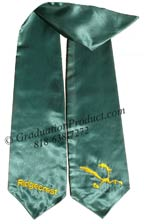 Dark Green Two Side Embroidered Graduation Stole w/ 2 side Logo