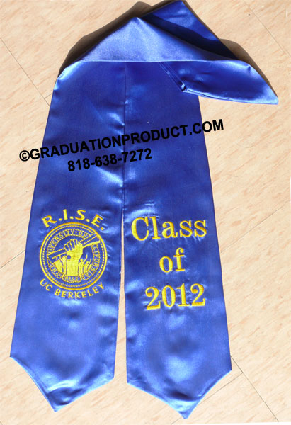 Royal Blue Custom Embroidered With Logo Graduation Stole