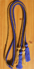 Royal Blue and Old Gold Double Tied Honor Cords