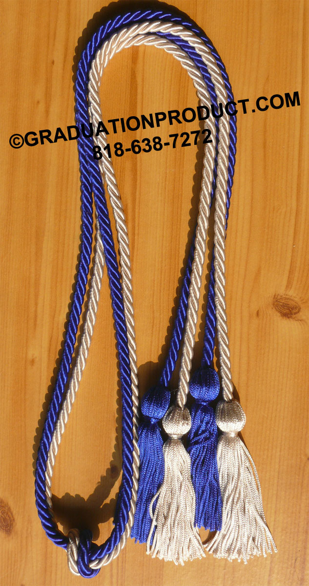 Royal Blue And Silver Double Honor Cord