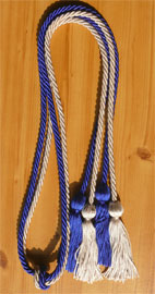 Royal Blue and Silver Tied Honor Cords
