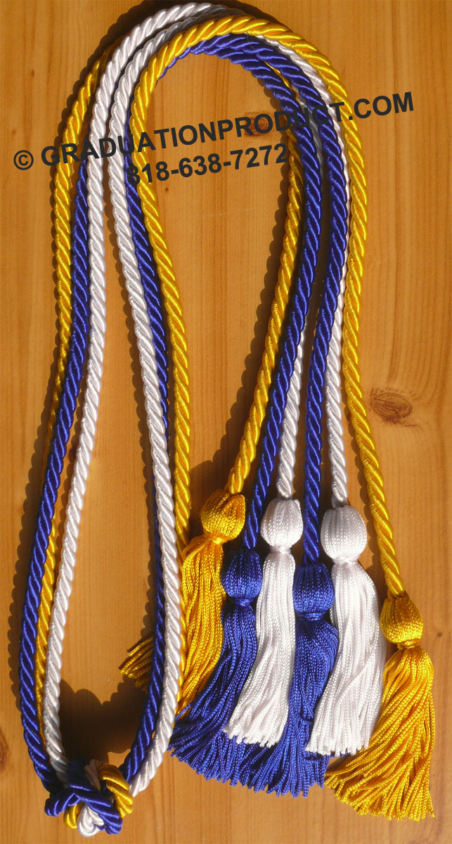 Royal Blue White And Gold Triple Graduation Honor Cords