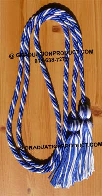Royal Blue and White Braided Graduation Cords
