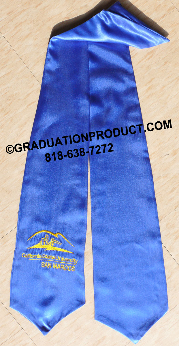 Royal Blue Embroidered Graduation Stoles