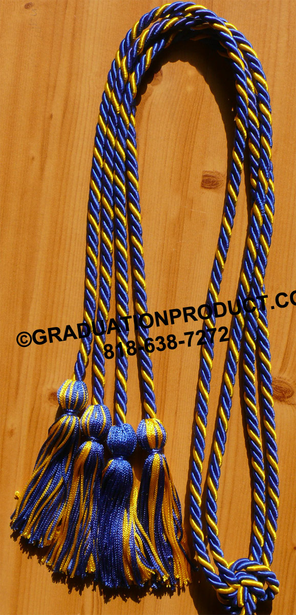 Royalblue Gold Intertwined Tied Honor Cords