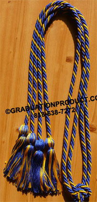 Royal Blue & Gold  Intertwined  Double Tied Graduation Honor Cord