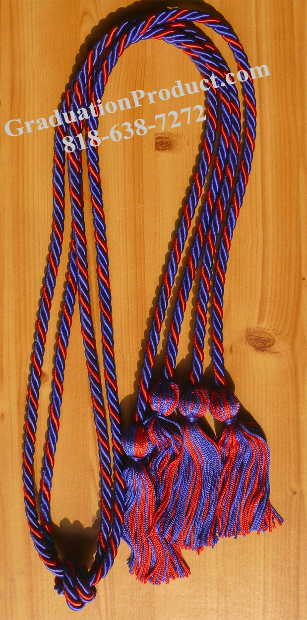 Royalblue And Red Braided Double Honor Cords
